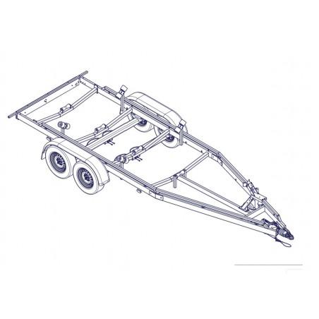 6m30-2m20 2x1350kg - 2700 kg - VLEMMIX - Remorque Porte-Bateau