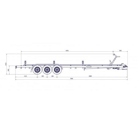 7m80 - 3x13500 kg - VLEMMIX - Remorque Porte-Bateau