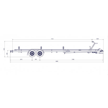 8m40-2m55- 2x1800 kg - 3500 kg - VLEMMIX - Remorque Porte-Bateau