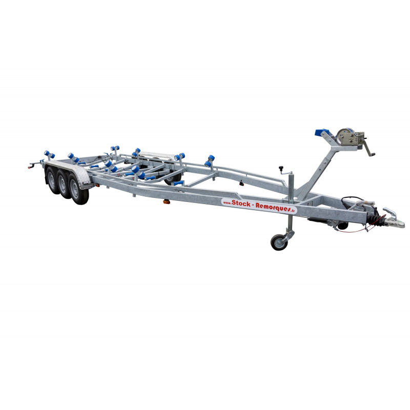 10m- 3X1500 kg - 3500 kg - VLEMMIX - Remorque Porte-Bateau